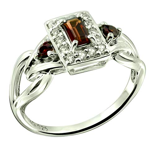 RB Gems Sterling Silver 925 Ring Genuine GEMS Emerald-Cut 5x3 mm, Rhodium-Plated Finish, Knot Style (6, Garnet) ()