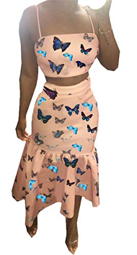 Womens Sexy 2 Pieces Butterfly Printed Tube Crop Tops Bodycon Ruffles Skirts Party Clubwear Outfits Dress Set Pink