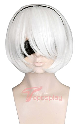 Topcosplay Womens Short Wig White Halloween Costume Cosplay Wig with Long Bangs