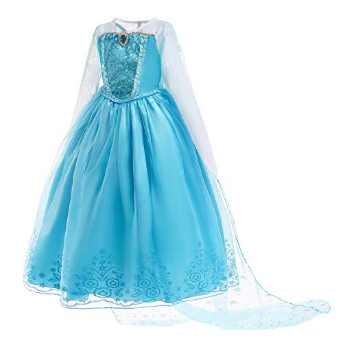 JiaDuo Girls Sequin Elsa Dress up Princess Halloween Costume Cape Long Sleeve