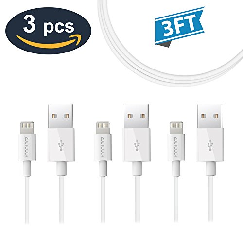 iPhone Charger Cable ZOETOUCH iPhone Cords 3 Pack 3FT Lightning Cable for iPhone iPad iPod (Letter White 3')