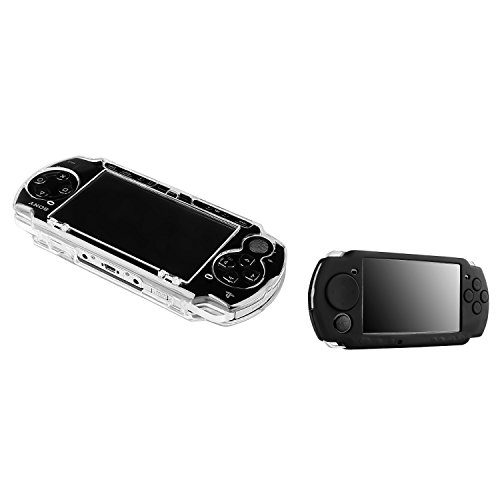 Insten 2 Pack Case Compatible With Sony PSP 2000 3000 - Clear Clip On Crystal Hard Case + Black Soft Silicone Skin Case (Psp 3000 Crystal)
