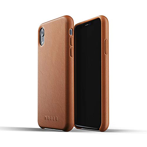 Mujjo Full Leather Case for iPhone Xr | Premium Genuine Leather, Natural Aging Effect | Super Slim, Leather Wrapped Profile, Wireless Charging (Tan)