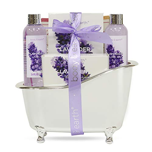 Bath Spa Gift Basket for Women, Body & Earth Lavender Scented 4 Pcs Home Spa Gift Kit with Shower Gel, Bubble Bath, Bath Salts and Bath Soap, Best Gift for Her (Soap Bath Scented)