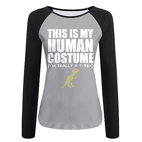 College Partner Costumes (Women's This Is My Human Costume I'm Really A T-REX Printed Long-Sleeve T-Shirt)