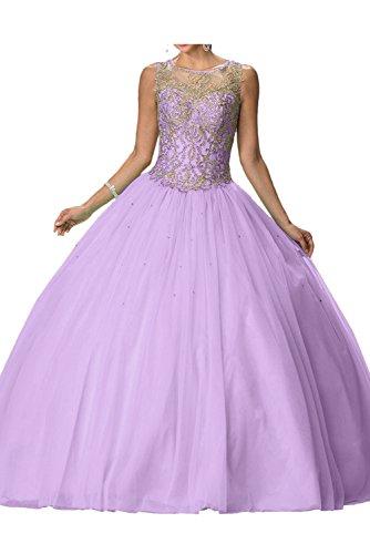 Damen Festkleider Tuell Ivydressing Ballkleid Abendkleid Lila Romantisch Lang Rundkragen vxznfwZq4R