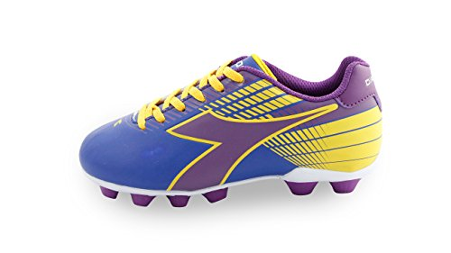 Diadora Kids' Ladro MD Jr Soccer Shoe, Black/Yellow/Purple, 13 M US Little Kid