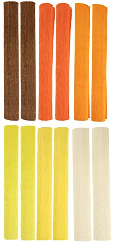 Crepe Paper Roll - 12-Pack Paper Party Sheets for Wedding Ceremony, Festival, Birthday Party, Events Decoration, 6 Shades of Yellow Colors, 16.5 inches Wide, 8.2 Feet Long]()