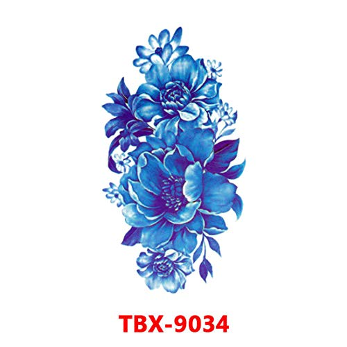 Waterproof Realistic Temporary Tattoo Blue Lotus Flowers - Body ArmsChest Shoulders Leg Back Temporary Tattoos Sticker - For Women Girls Kids Teens - Removable | Made in USA | (TBX-9034) ()
