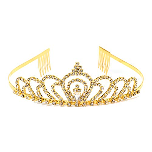 Gold Costume princess crown With Comb Pin For
