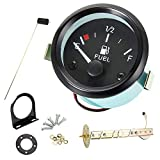 "ODOMY 2"" 52mm Fuel Gauges Car Marine Fuel Level Gauge Meter Kit with Sensor Universal Boat Motorcycle Truck RV Fuel Tank Gauge (12V, LED Display, E-1/2- F Pointer Range)"