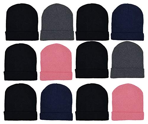 12 Pack Winter Beanies, Unisex, Warm Cozy Hats Foldover Cuffed Skull Cap (12 Pack Assorted Solids #2)