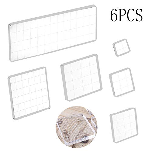 ylic Stamp Block Clear Stamping Tools Set with Grid Lines for Scrapbooking Crafts Card Making, Assorted Sizes ()
