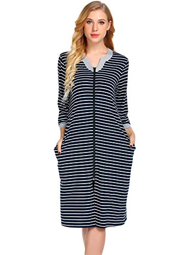 (Ekouaer Striped Robe, Zipped Fron Nightgown for Women Contrast Nightshirt Sleepwear with Pocket,Black,Small)