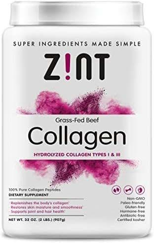 Zint Collagen Peptides Powder (32 oz): Paleo-Friendly, Keto-Certified, Premium Hydrolyzed Collagen Protein Supplement - Unflavored, Grass Fed, Non GMO