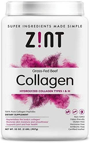 Zint Collagen Peptides Powder (32 oz): Keto Certified, Paleo Friendly Hydrolyzed Collagen Protein Powder Beauty Supplement - Skin, Hair, Nails