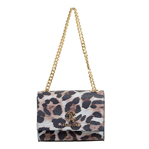 (Roberto Cavalli 100% Leather Multi Color Leopard Print Women's Shoulder Bag)