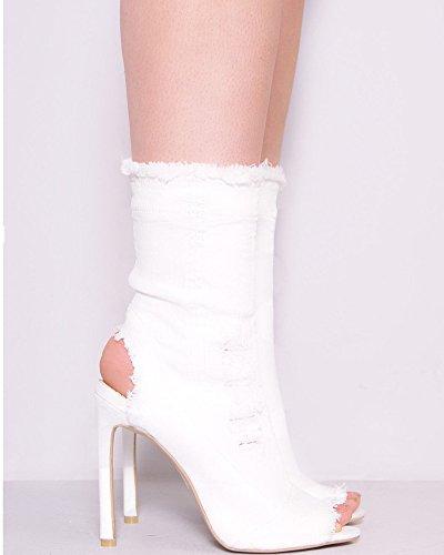 Huiyuzhi Womens Distressed Denim Open Toe High Heel Cutout Calf High Boots White 1Sr6YdTU