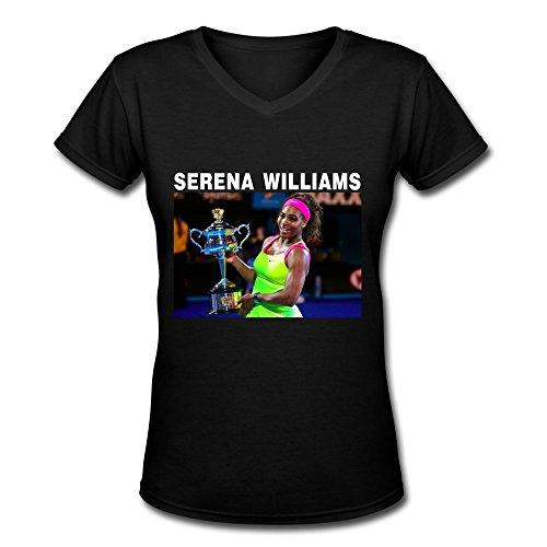 JiJa Womens 2015 Serena Williams WTA Wimbledon V-Neck T-shirts Black XL