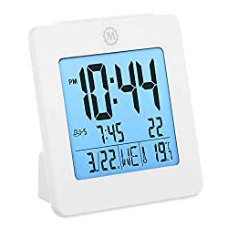 Marathon CL030050WH Digital Dual Alarm Clock with Day, Date, Temperature and Backlight. Color-White. Batteries Included. Latest Edition