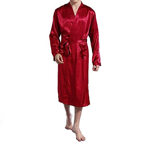 Amzchoice Men V Neck Satin Robe Kimono Long
