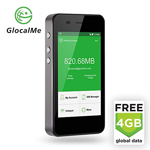 GlocalMe G3 LTE Global Mobile Hotspot Wi-Fi with 4GB Global Initial Data, SIM Free, for Internet Coverage in Over 100 Countries, Compatible with Smartphones, Tablets, Laptops and More - (Grey)