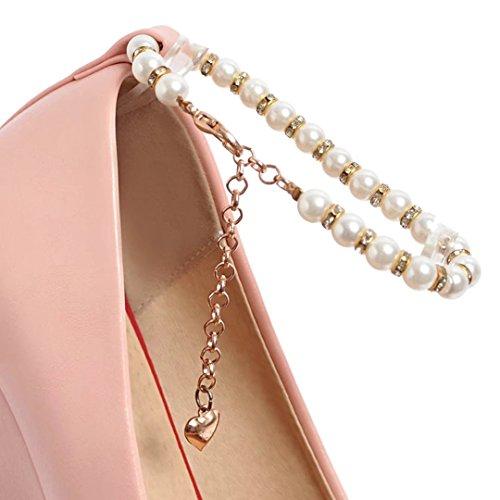 AIYOUMEI High Heel Keilabsatz Pumps mit Knöchelriemchen und Perlen Keilpumps Damen Rosa
