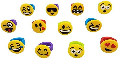 Toy for Kids Carnival Prizes Sports Team Birthday Party Favors Gifts Loot Bags Funeez Pack of 60 Emoji Colorful Rubber Silicon Rings
