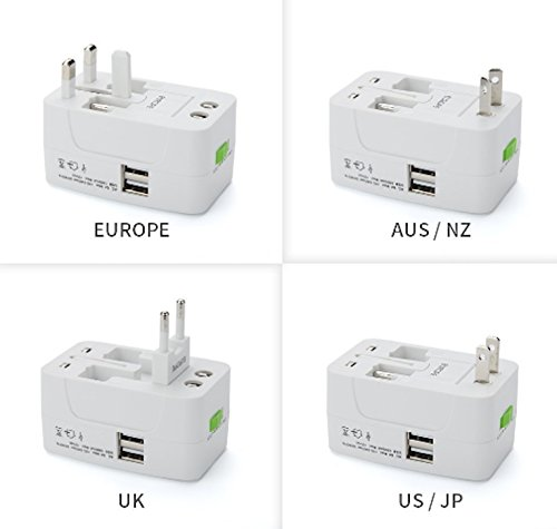 All in One Universal Travel Adapter Worldwide Power Plug Wall AC Adaptor Charger with Dual USB Charging Ports US EU UK AUS NZ AC100-240v Surge Protected Portable International Power Adapter by ATECH (Image #4)