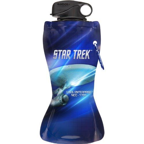 Star Trek Lunch - Vandor 80210 Star Trek 24 oz Collapsible Water Bottle, Blue and White
