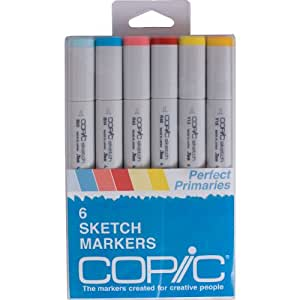 Copic Markers 6-Piece Sketch Set, Perfect Primaries