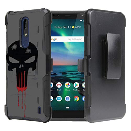 Beyond Cell Armor Series Compatible with Nokia 3.1 Plus (Cricket) Case, Heavy Duty Rugged Double Layer Case with Built-in Stand, Rotatable Belt Clip Holster and Atom Cloth - Black Bloody Skull from Bemz Depot