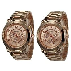 2 PACK Rose Gold Geneva Chronograph Designer Watch with Metal Link Band