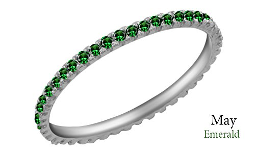 Jewel Zone US Simulated Green Emerald Eternity Stackable Wedding Ring in 14k White Gold Over Sterling Silver (1/5 Ct)