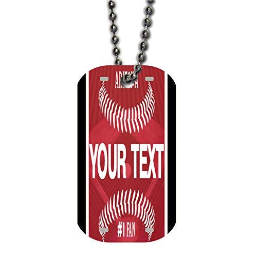 BRGiftShop Personalize Your Own Baseball Team Arizona Single Sided Metal Military ID Dog Tag with Beaded Chain Arizona Diamondbacks Chain Necklace