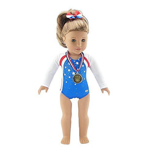 Emily Rose 18 Inch Doll Clothes | Team USA 3 Piece Gymnastics Set, Including Jeweled Leotard, Hair Band with Bow, and Realistic Olympic Gold Medal! | Fits American Girl Dolls | Gift Boxed!