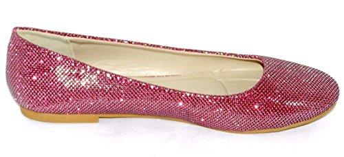 Dev Kvinner Multi Farge Flat Ballett Ballerina Glitter Sko Fuchsia