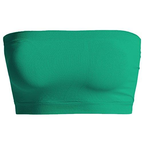 TheMogan Basic Seamless Bandeau Bra Top Stretch Tube Bralette Kelly Green One Size