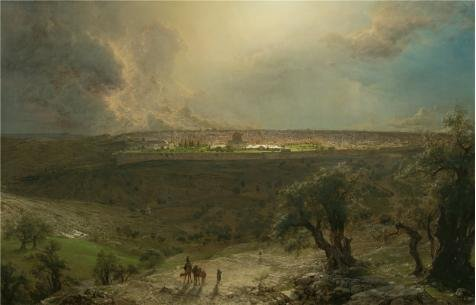 Oil Painting 'Frederic Edwin Church,Jerusalem From The Mount Of Olives,1870' 16 x 25 inch / 41 x 63 cm , on High Definition HD canvas prints is for Gifts And Bar, Gym And Powder Room decor, images - Urban Funk Table Lamp