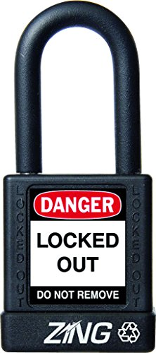 """ZING 7036 RecycLock Safety Padlock, Keyed Different, 1-1/2"""" Shackle, 1-3/4"""" Body, Black from Zing Green Products"""