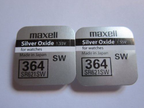 2 x MAXELL SR621SW 364 D364 602 1.55v Silver Oxide Button Cell Watch Battery - Official Genuine Maxell