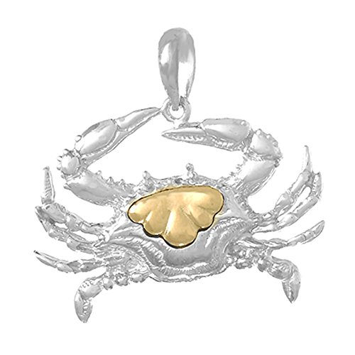 925 Sterling Silver Nautical Charm Pendant, Blue Crab with 14k Gold Accent, - Charm Gold 14k Nautical Crab