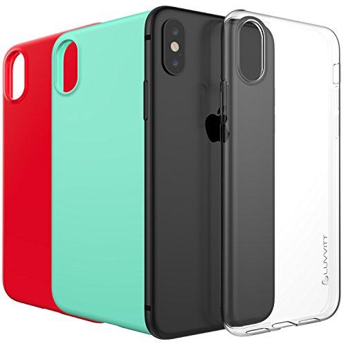 LUVVITT claridad funda iPhone X con luz y Slim Flexible TPU de goma Protección para iphone X 10(2017) 4 Pack Bundle