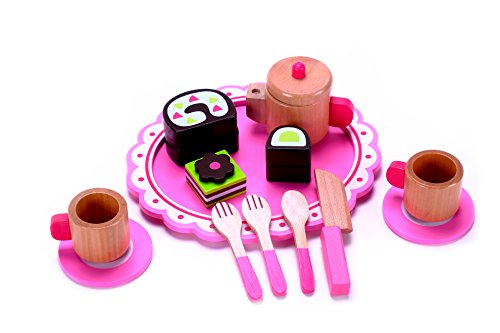 Hardwood Toddler Seat (Cute Afternoon Wooden Tea Party Set Toy for Girls & Boys, Preschool Age Toddlers w/ Hardwood Classic Pink Tea Kettle Pot Cups, Saucers & Dessert