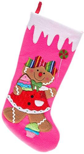 Monogrammed Me Christmas Stocking, Pink Gingerbread Girl ()
