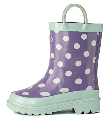 Pictures of Outee Toddler Girls Kids Rain Boots Rubber GLR17BDOTPUR7 5