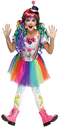 Crazy Color Clown Costumes For Kids (Fun World Girls Crazy Rainbow Color Girls Clown Costume 12-14)