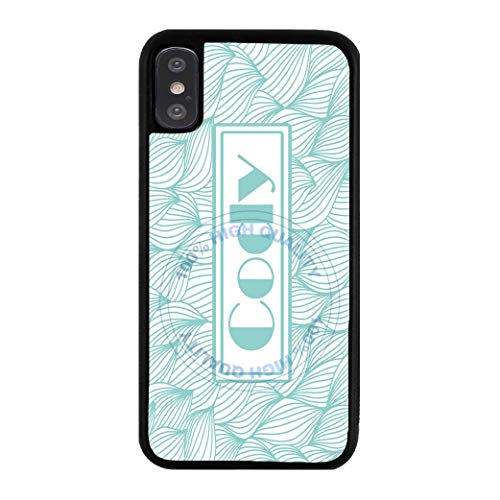 BRGiftShop Personalized Custom Name Teal And White Modern Vintage Damask Print Rubber Phone Case For Apple iPhone Xs Max