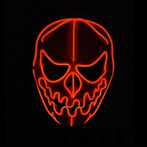 Skull Mardi Gras Scary Mask (Interomgl Red EI Wire Glow Pumpkin Head Scary Death Rave Mask LED Light Up Skull Face Ghost Headwear Nightlife Skeleton Masks Kit Cool Clown Creepy Puppet for Halloween Festival DJ Birthday Parties)