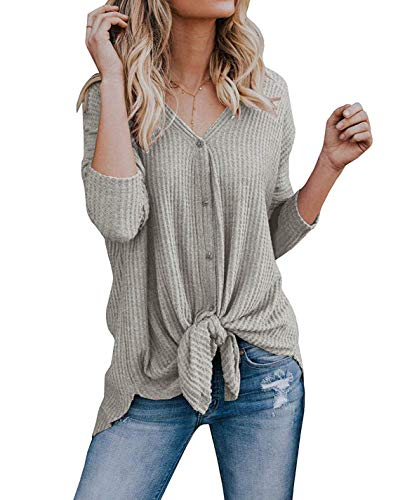 VEIMEILI Women's Casual V Neck Tie Knot T-Shirt Button Down Long Sleeve...